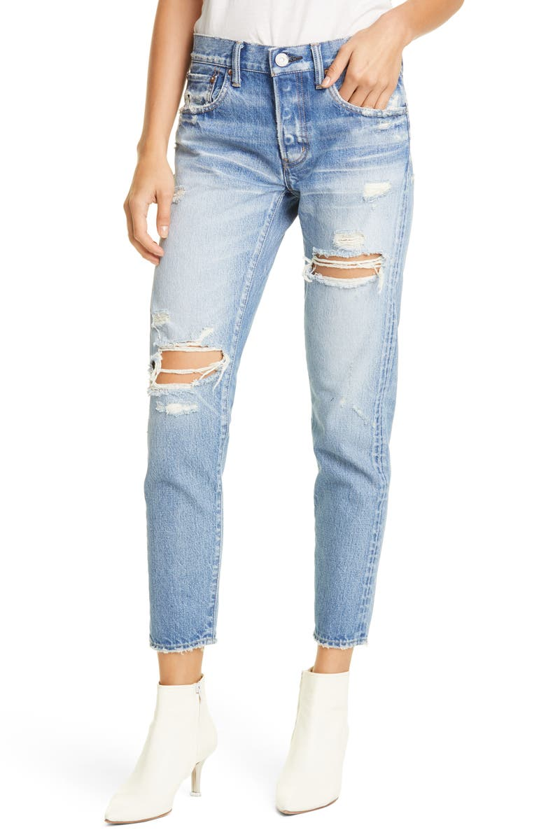 MOUSSY VINTAGE Bowie Ripped Tapered Jeans, Main, color, BLUE