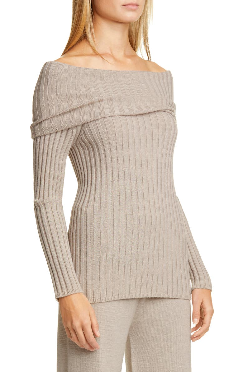 MAX MARA LEISURE Tosca Off the Shoulder Ribbed Virgin Wool Sweater, Main, color, BEIGE