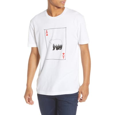 French Connection Slim Fit Bear Playing Card Graphic T-Shirt, White