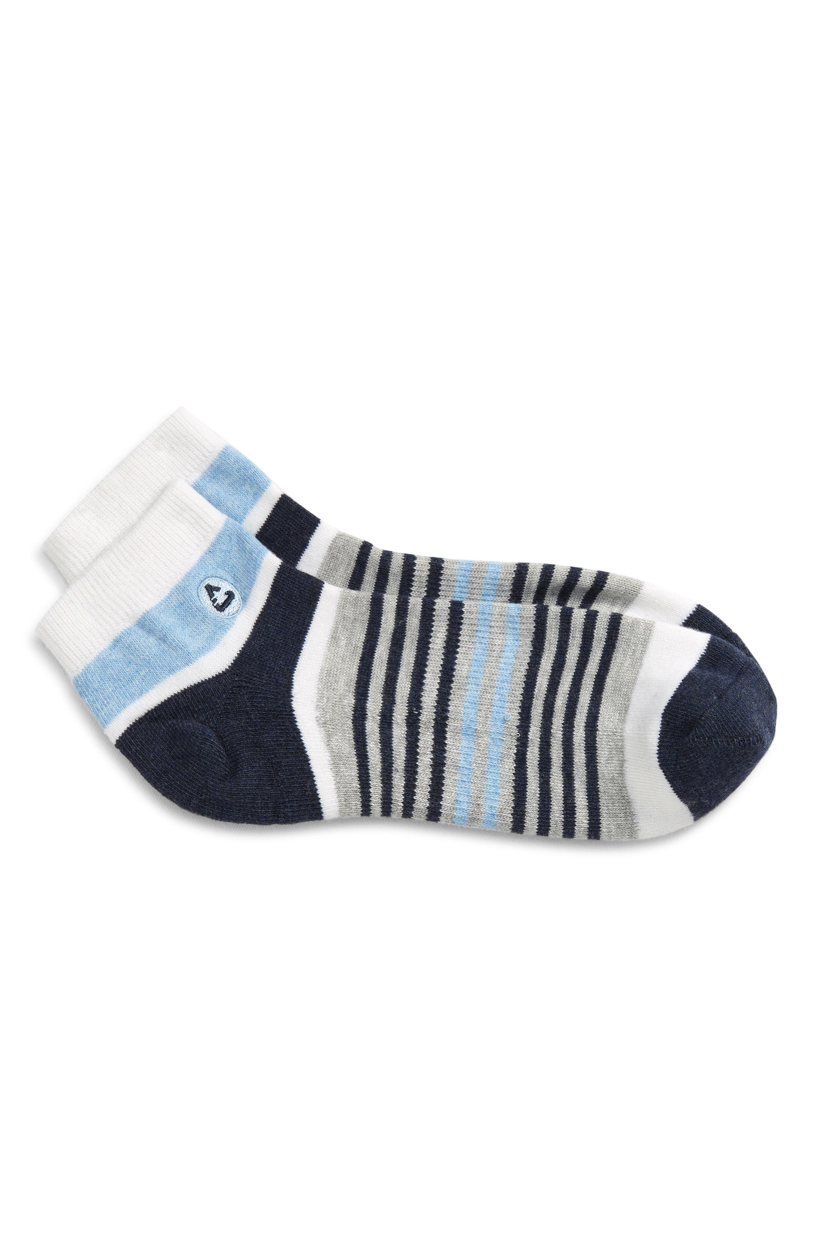 Cushioned, odor-resistant and ready for anything, these comfortable ankle socks sport the breathability of cotton and the sporty look of bold stripes. Style Name: Travismathew Primo Ankle Socks. Style Number: 6117128. Available in stores.