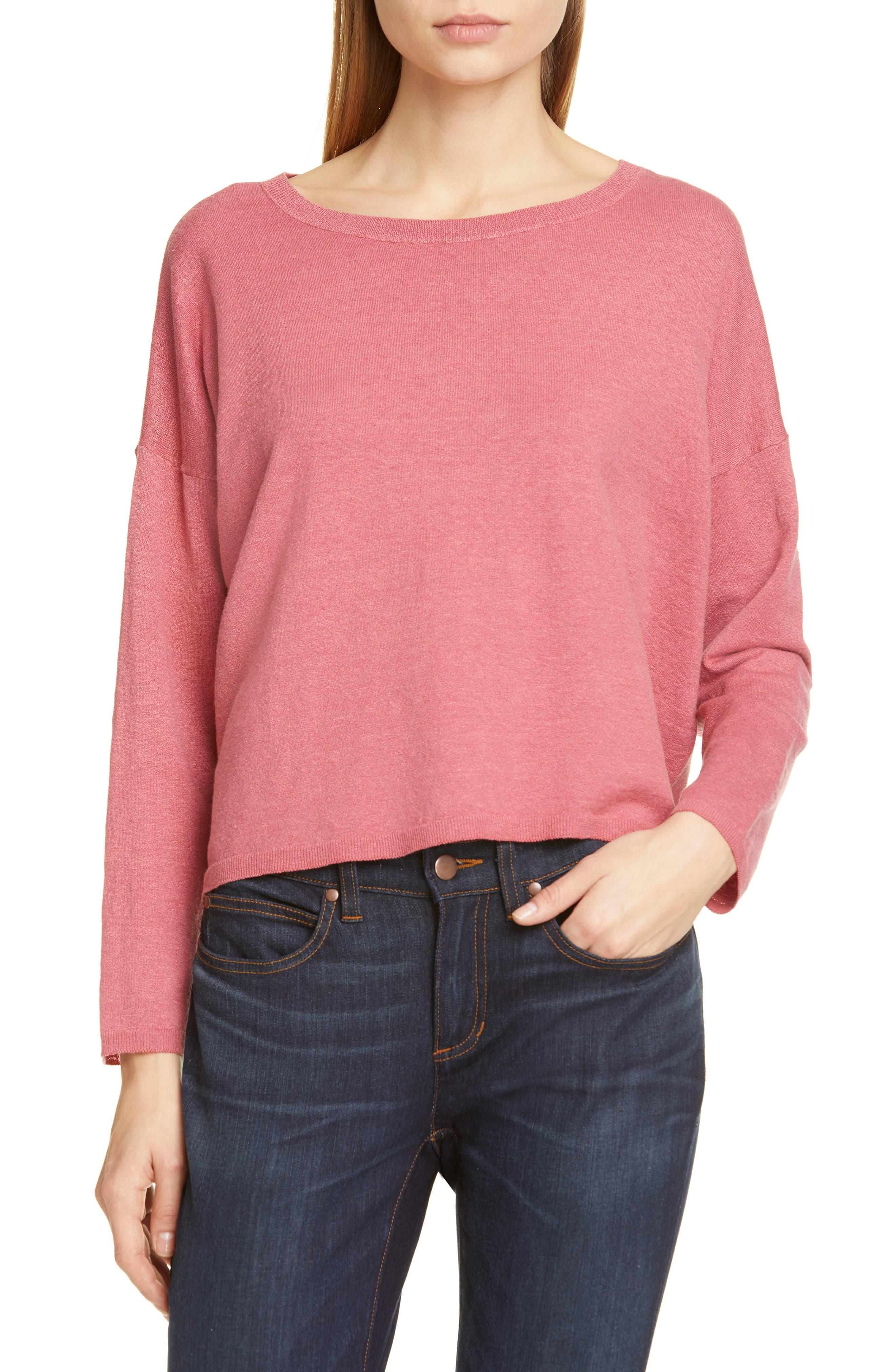 Eileen Fisher Jewel Neck Linen Blend Boxy Top, Orange