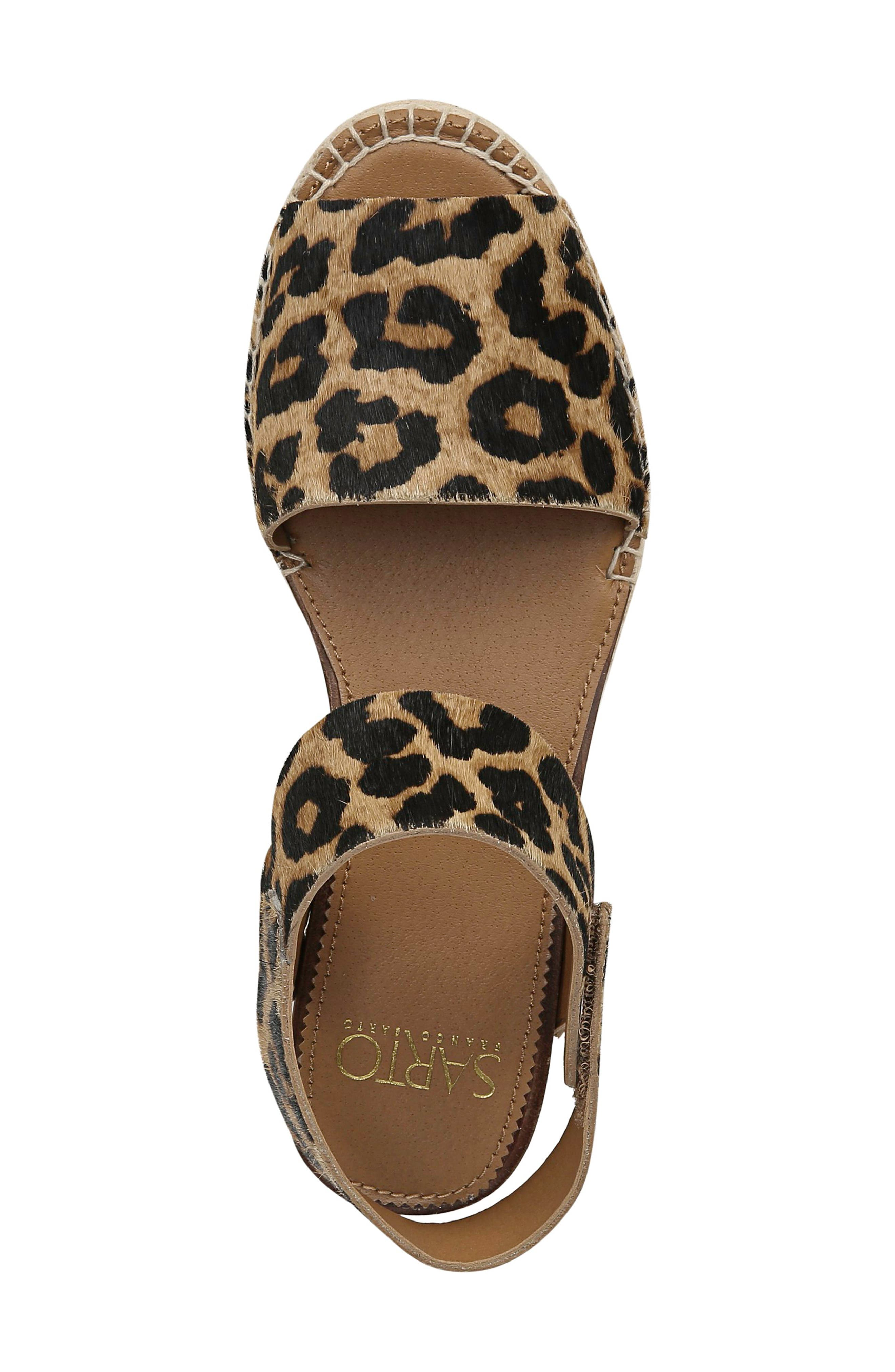 ,                             Oak Genuine Calf Hair Platform Wedge Espadrille,                             Alternate thumbnail 5, color,                             LEOPARD PRINT CALF HAIR
