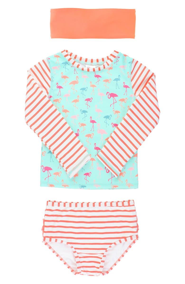 RUFFLEBUTTS Flamingo Beach Two-Piece Rashguard Swimsuit & Headband Set, Main, color, 300
