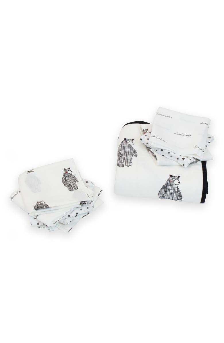 DONO & DONO Hooded Towel & Muslin Cloth Set, Main, color, BIG BEAR