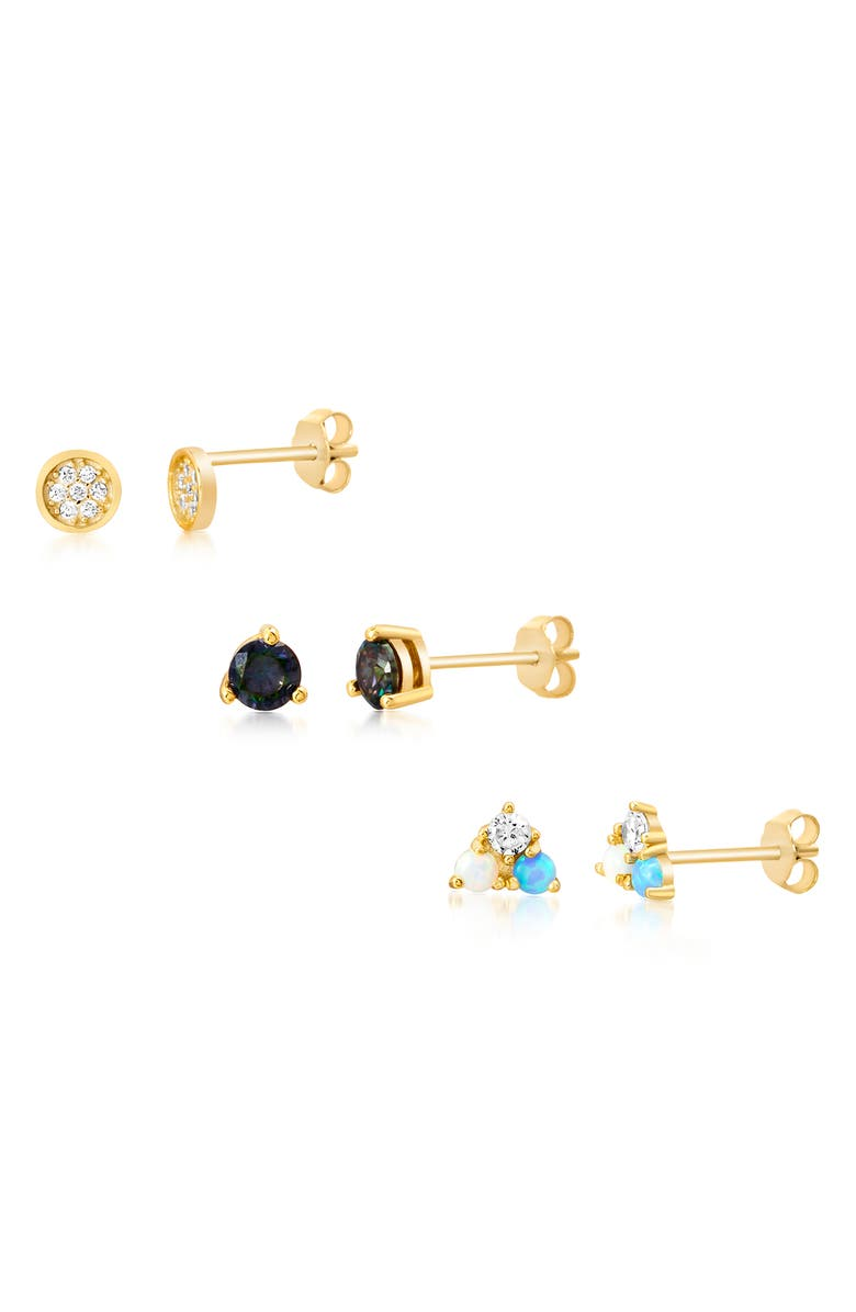 LESA MICHELE Set of 3 Stud Earrings, Main, color, GOLD