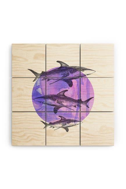 Image of Deny Designs Sophia Buddenhagen Sharks Wood Wall Mural
