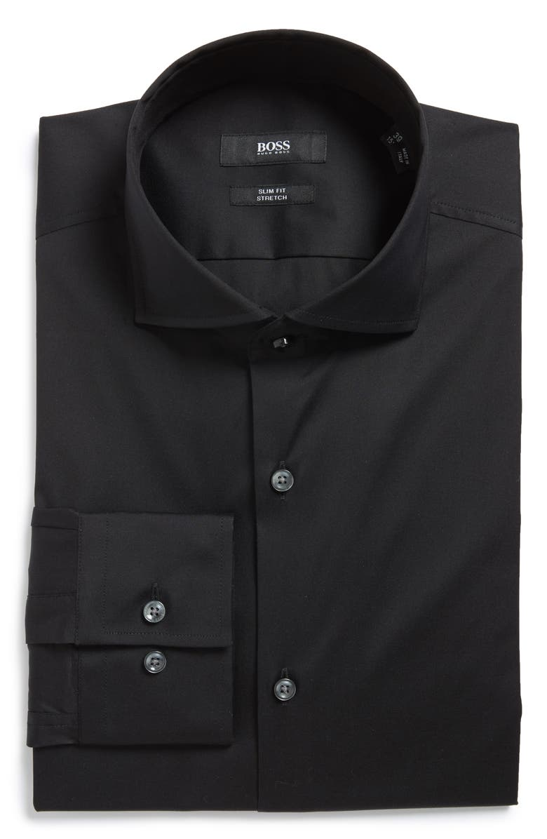 BOSS Jason Slim Fit Solid Cotton Blend Dress Shirt, Main, color, BLACK