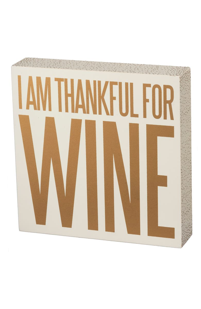 PRIMITIVES BY KATHY Thankful for Wine Box Sign, Main, color, IVORY