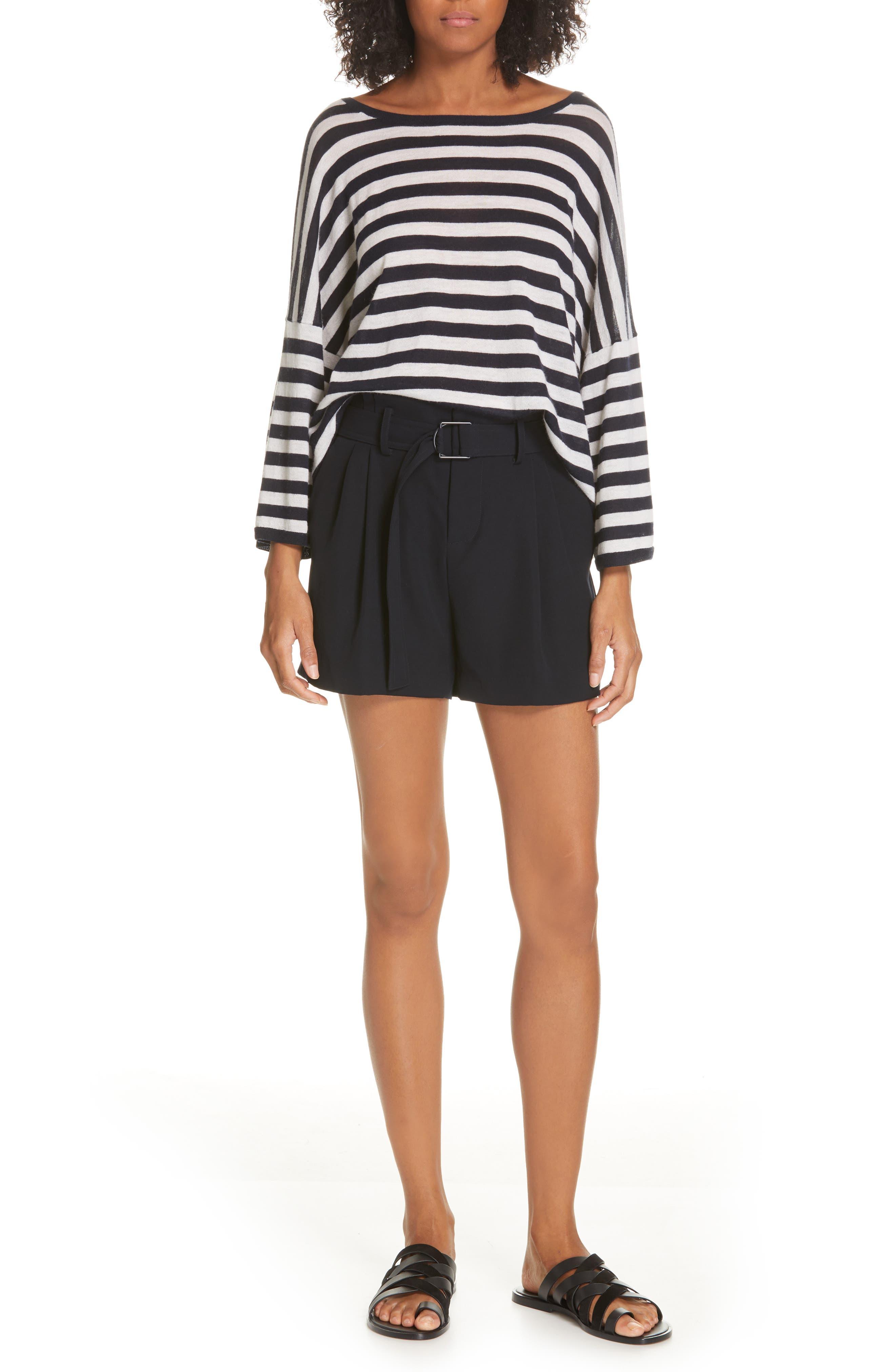 ,                             Stripe Boxy Wool & Cashmere Sweater,                             Alternate thumbnail 7, color,                             COASTAL/ CREAM