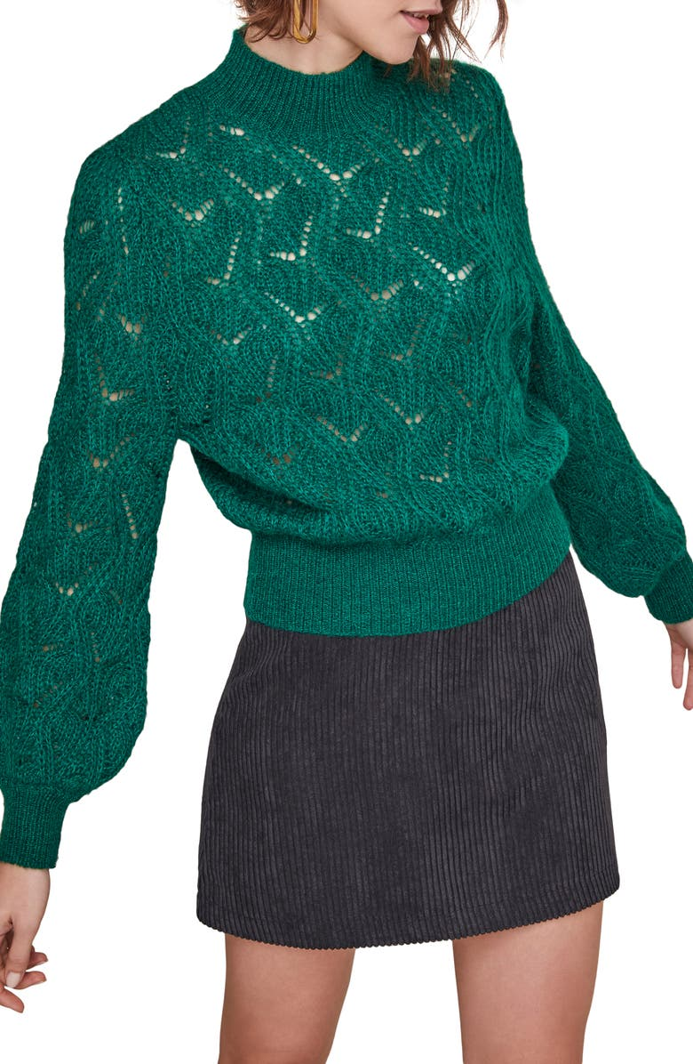 ASTR THE LABEL Audra Bishop Sleeve Sweater, Main, color, JUNIPER GREEN
