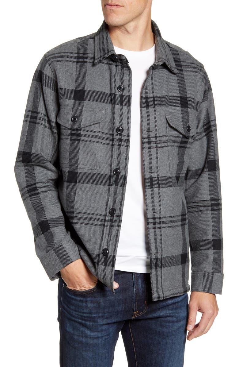 FILSON Deer Island Regular Fit Plaid Button-Up Shirt, Main, color, HEATHER BLACK