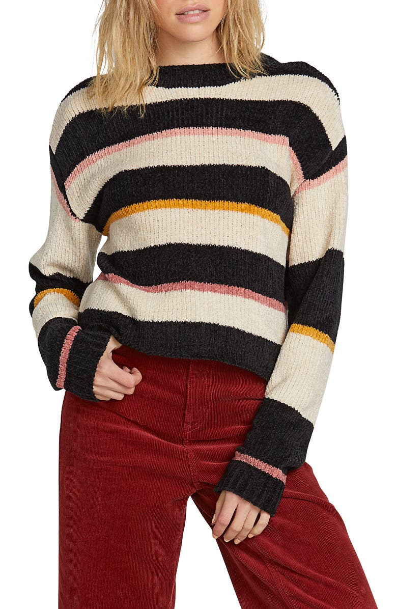 VOLCOM Madame Shady Chenille Sweater, Main, color, BLACK COMBO