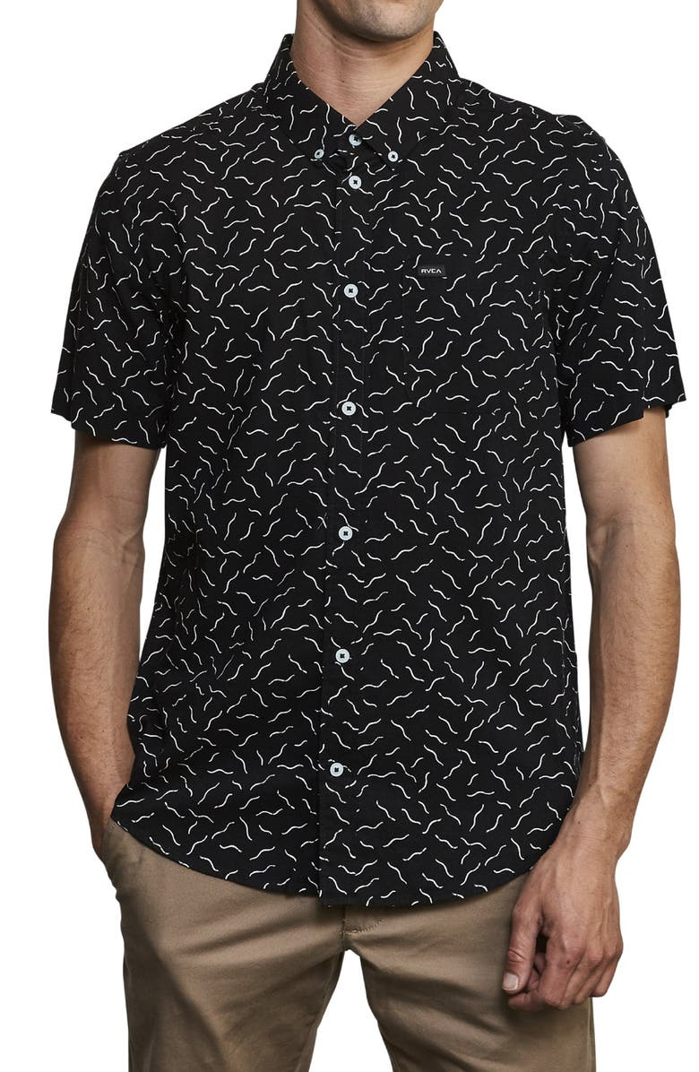 RVCA Squiggle Print Short Sleeve Button-Down Shirt, Main, color, 009