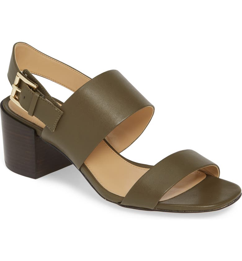 MICHAEL MICHAEL KORS Angeline Sandal, Main, color, OLIVE VACHETTA LEATHER