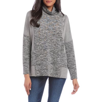 Karen Kane Contrast Pocket Cowl Neck Top, Grey