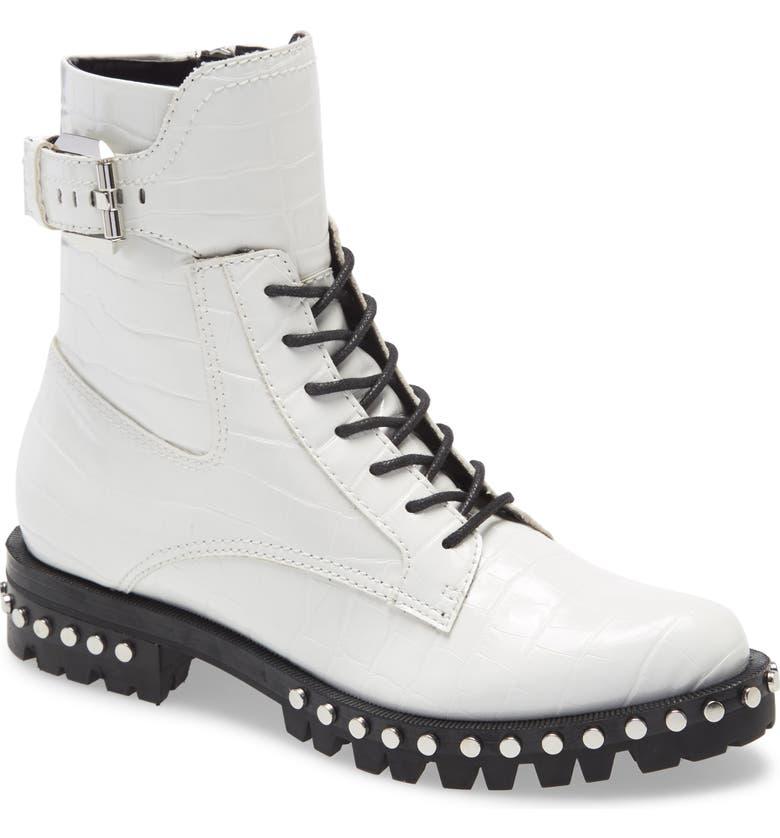 DOLCE VITA Prest Lace-Up Boot, Main, color, WHITE CROCO