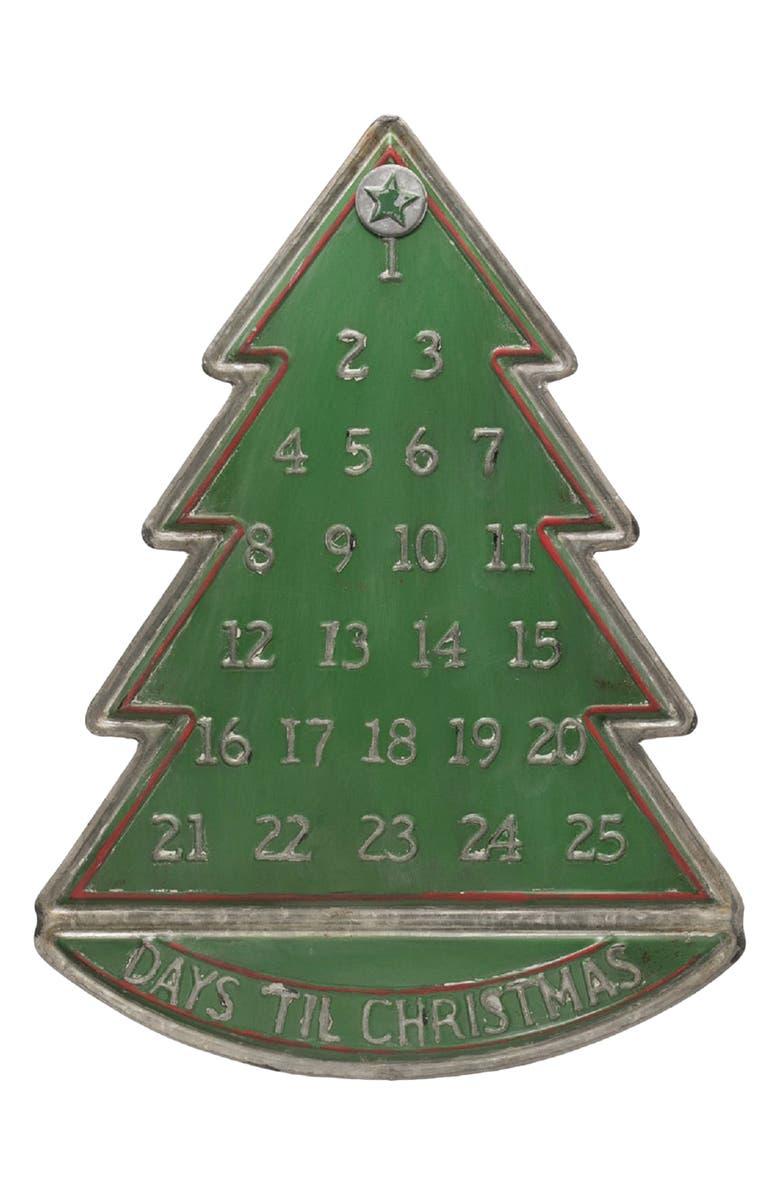 CREATIVE CO-OP Metal Tree Advent Calendar, Main, color, Green