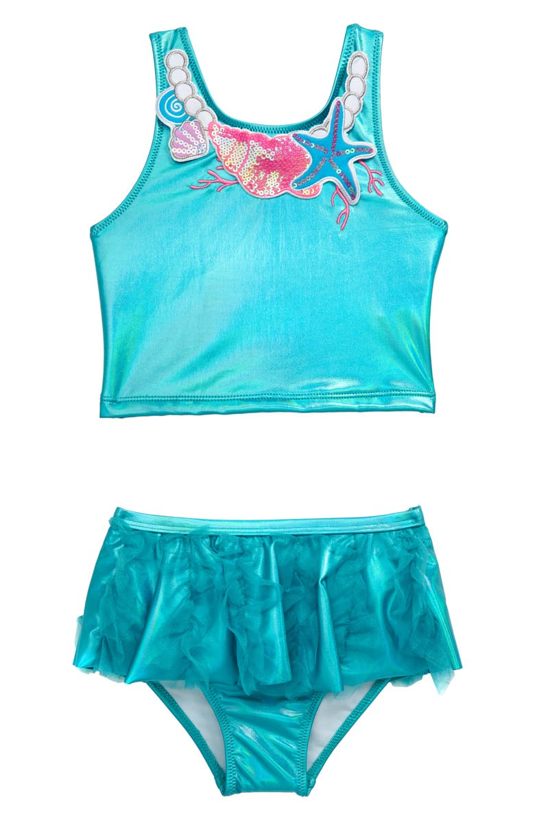 FLAPDOODLES Embellished Two-Piece Swimsuit, Main, color, AQUA