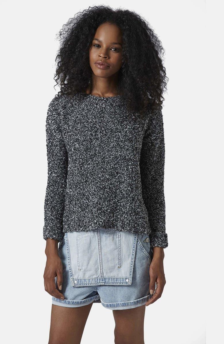 TOPSHOP Slouchy Bouclé Sweater, Main, color, 020