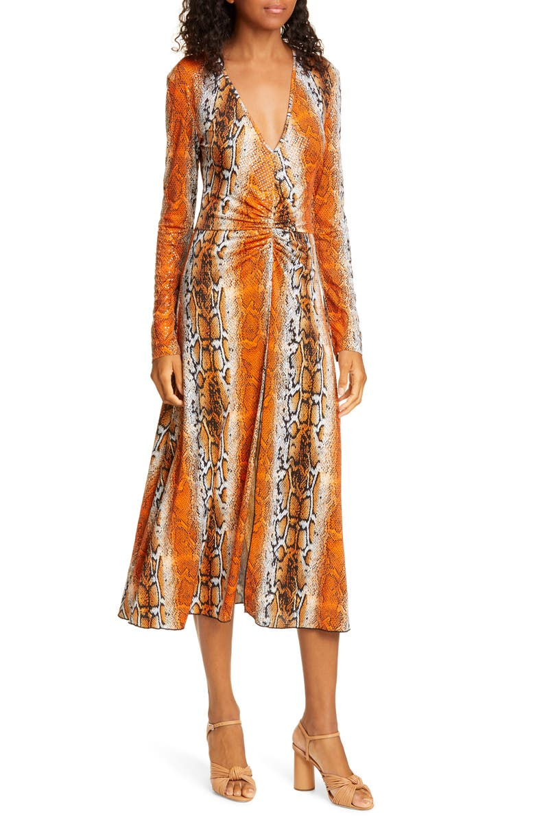 ROTATE Number 7 Python Print Long Sleeve Midi Dress, Main, color, PUFFINS BILL COMB