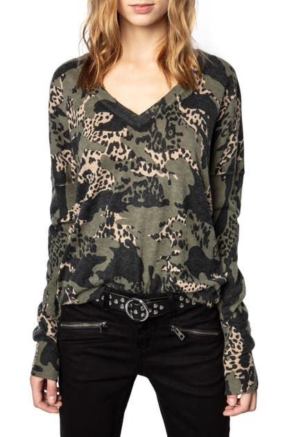 Zadig & Voltaire BRUME CAMOUFLAGE CASHMERE SWEATER