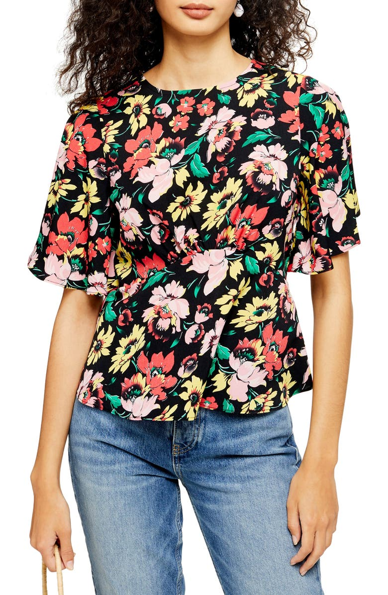 TOPSHOP Austin Floral Print Top, Main, color, BLACK MULTI