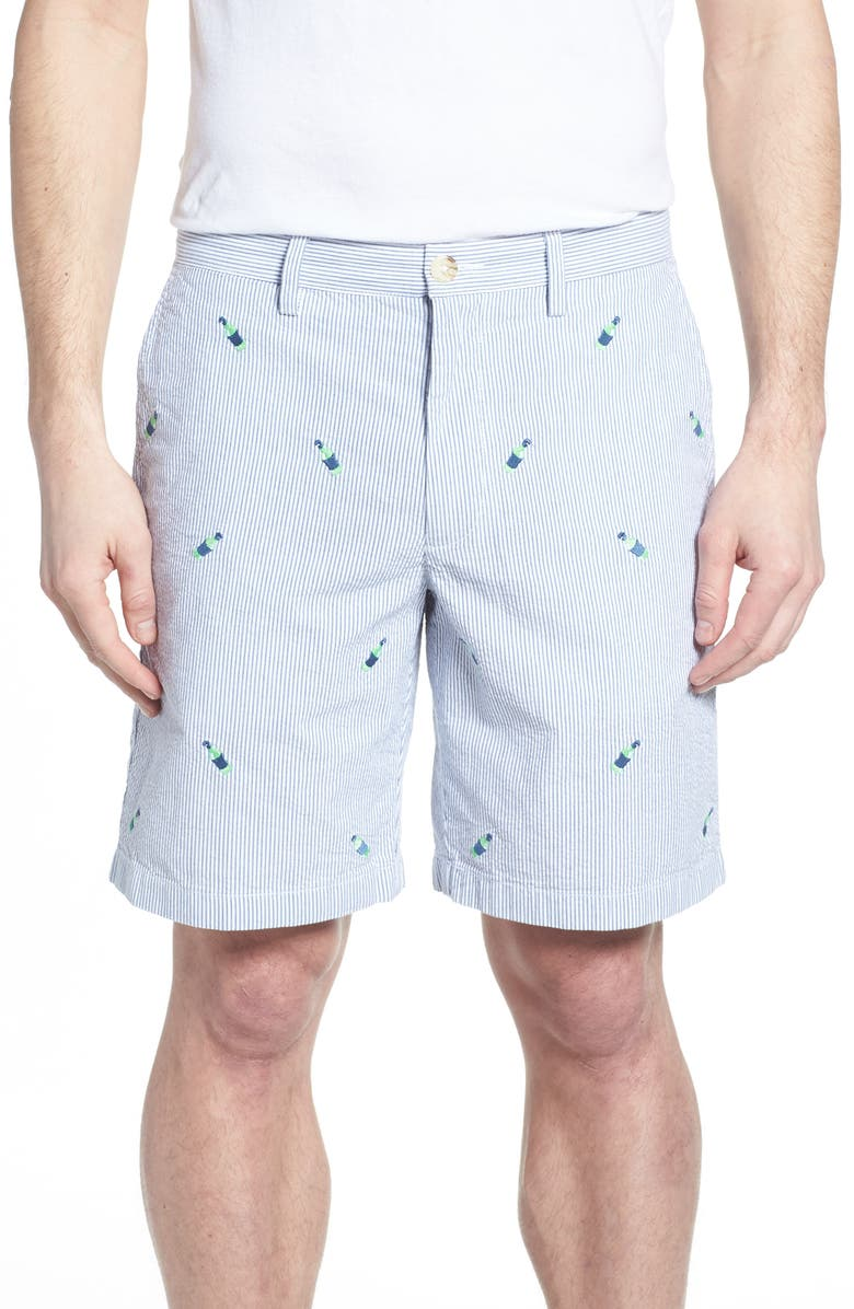 SOUTHERN TIDE Embroidered Seersucker Shorts, Main, color, 425