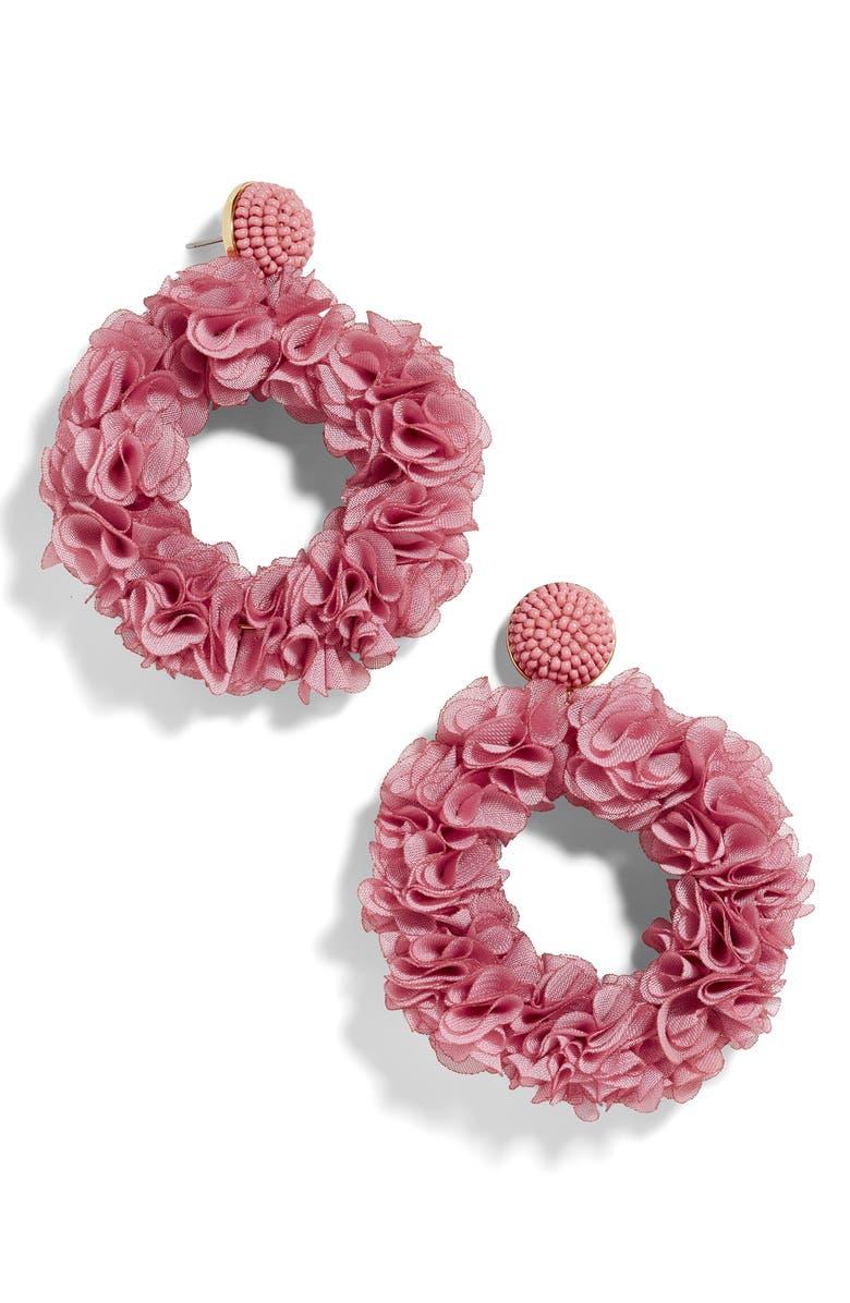BAUBLEBAR Camellia Floral Hoop Drop Earrings, Main, color, ROSE