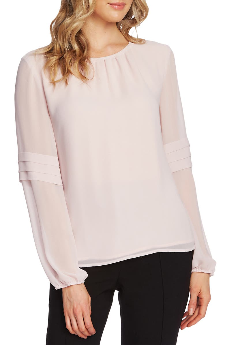 VINCE CAMUTO Pleated Long Sleeve Chiffon Blouse, Main, color, SOFT PINK