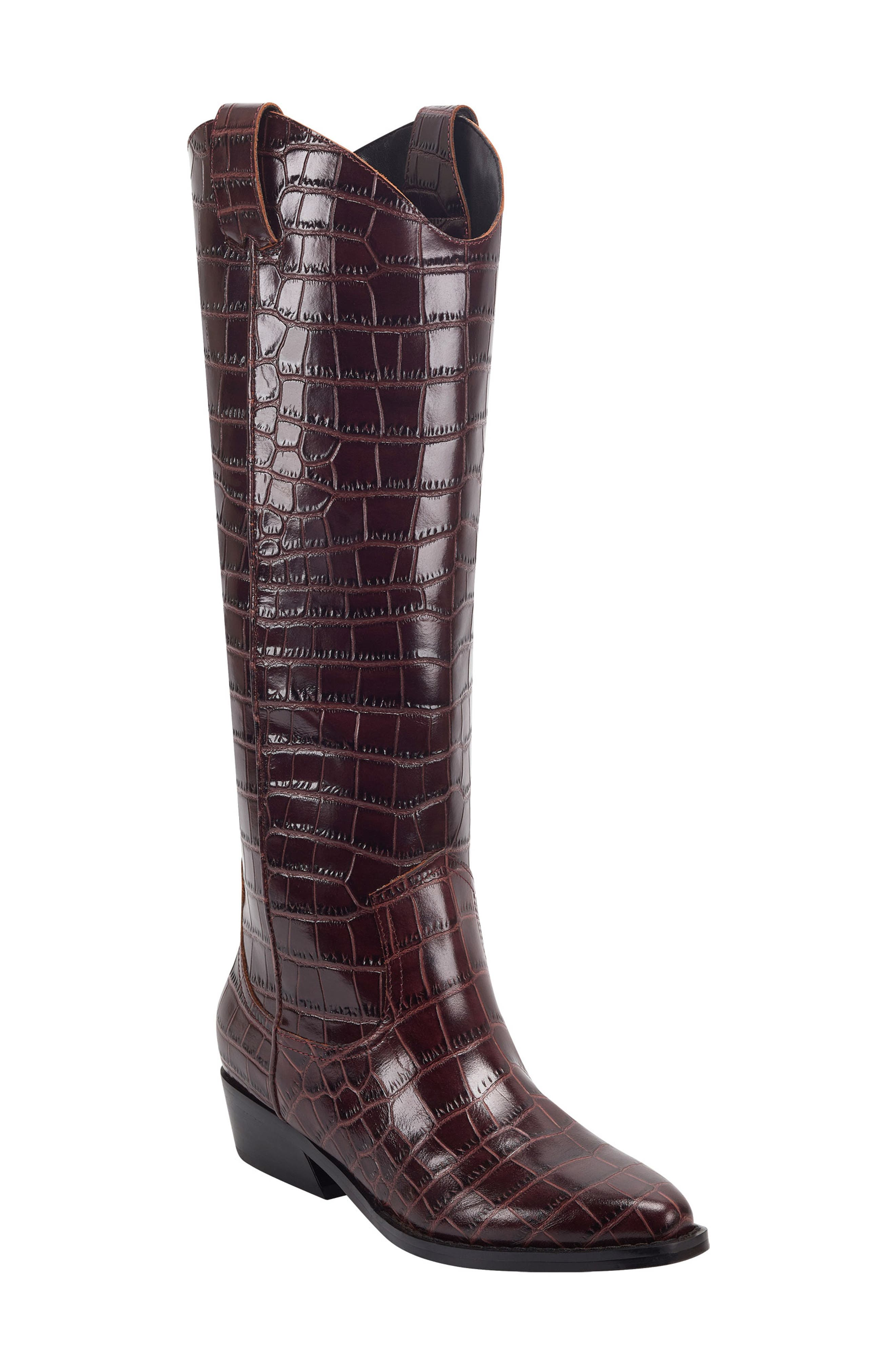 Image of Marc Fisher LTD Haze Croc Embossed Leather Western Boot