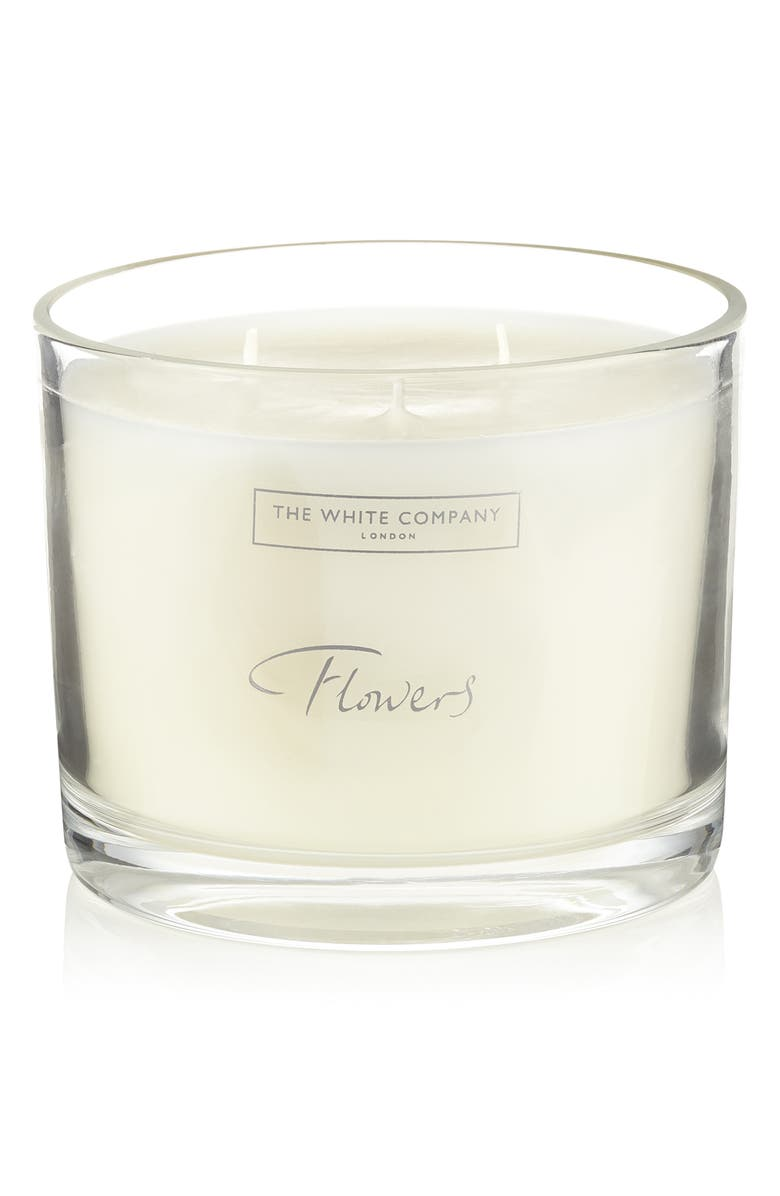 THE WHITE COMPANY Large Flowers Scented Candle, Main, color, WHITE