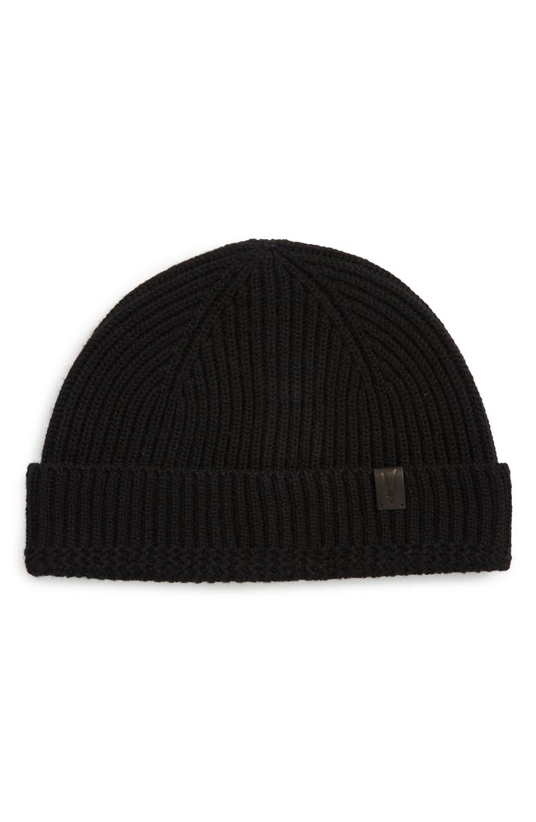 ALLSAINTS Merino Wool Ribbed Beanie, Main, color, BLACK