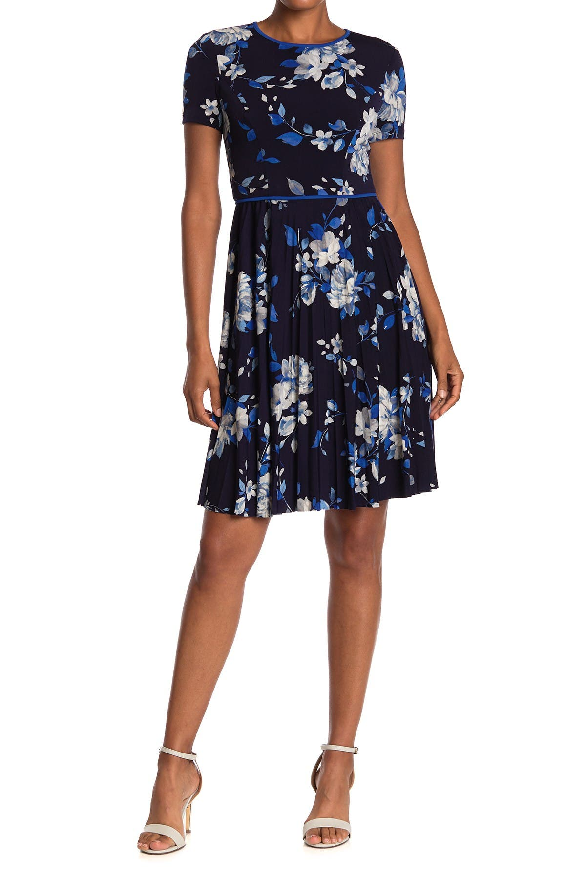 Image of Maggy London Watercolor Floral Short Sleeve Pleated Dress