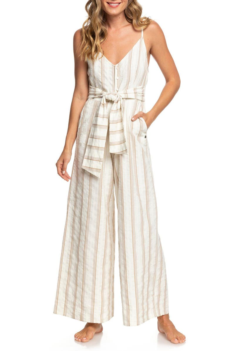 ROXY Wheel and Palms Stripe Jumpsuit, Main, color, 900