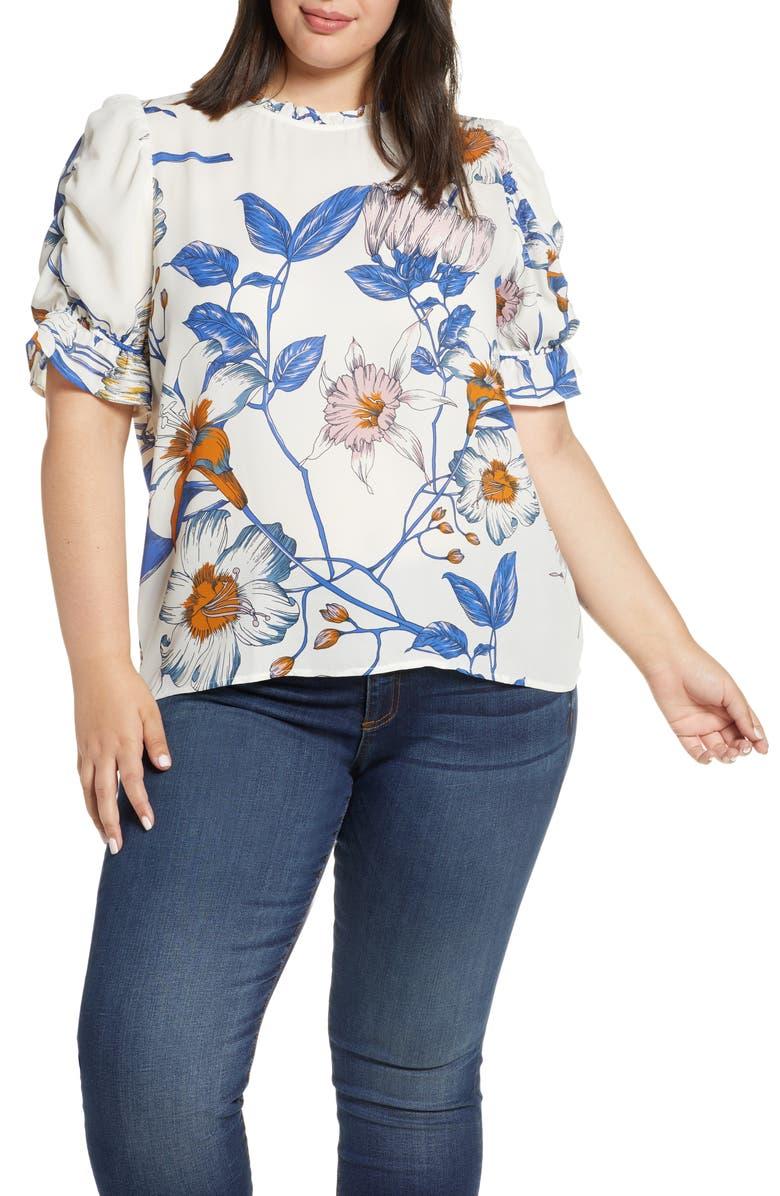 GIBSON Rebecca Print Ruffle Sleeve Blouse, Main, color, ST ANSELEM