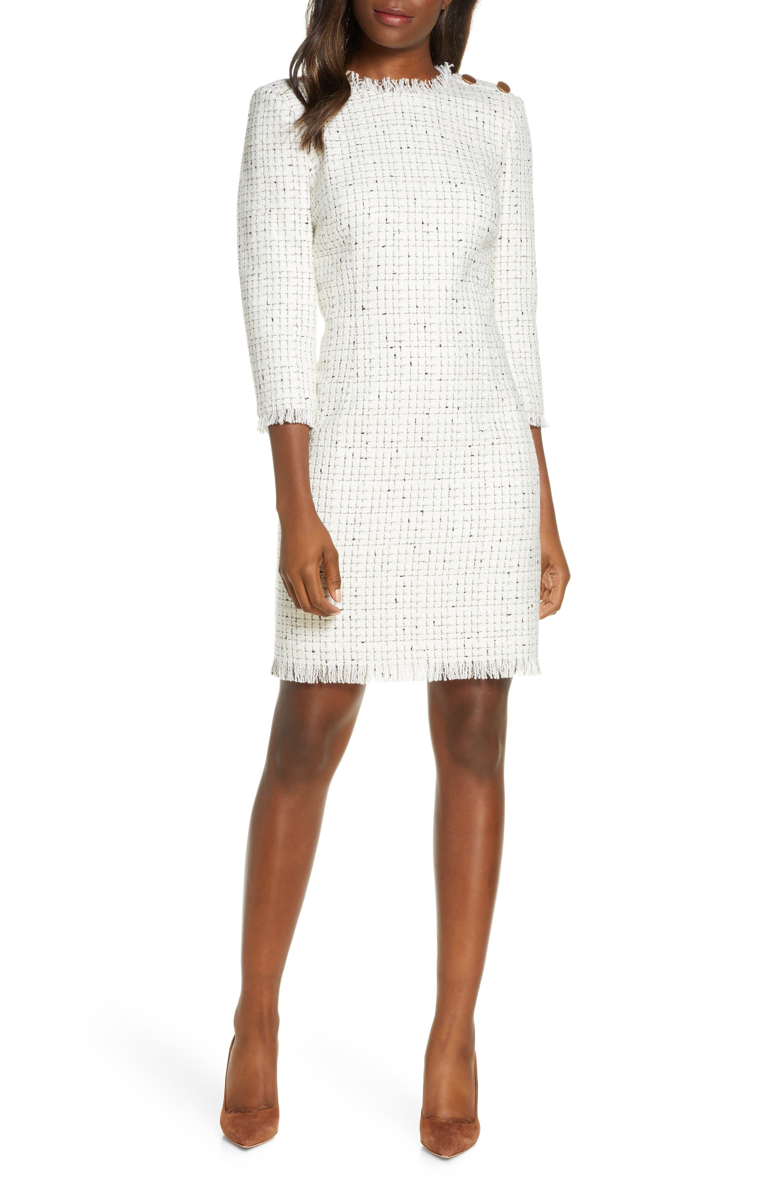 Harper Rose Long Sleeve Tweed Sheath Dress (Regular & Petite)