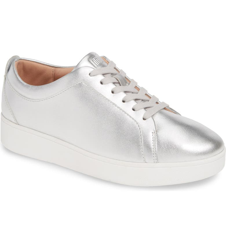 FITFLOP Rally Sneaker, Main, color, SILVER LEATHER