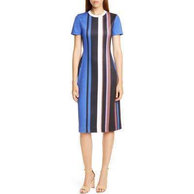 Boss Elorna Stripe Dress, Blue