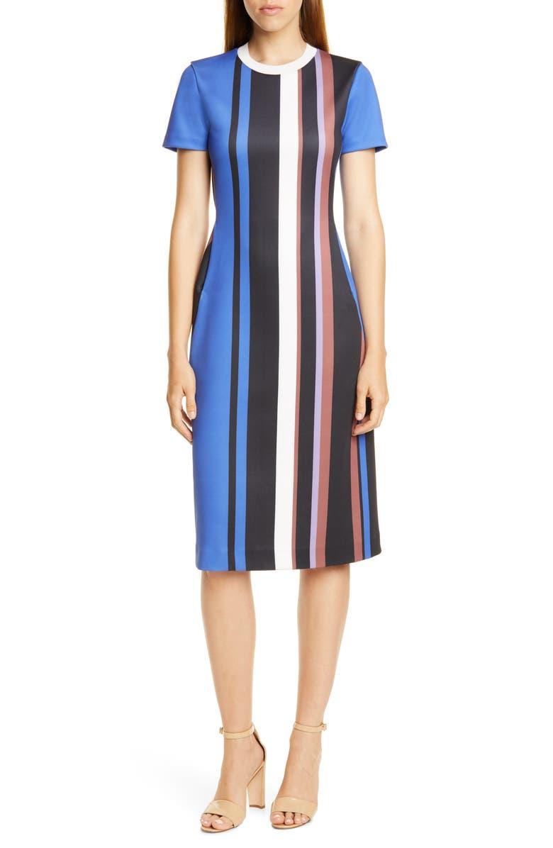 BOSS Elorna Stripe Dress, Main, color, KLEIN BLUE FANTASY