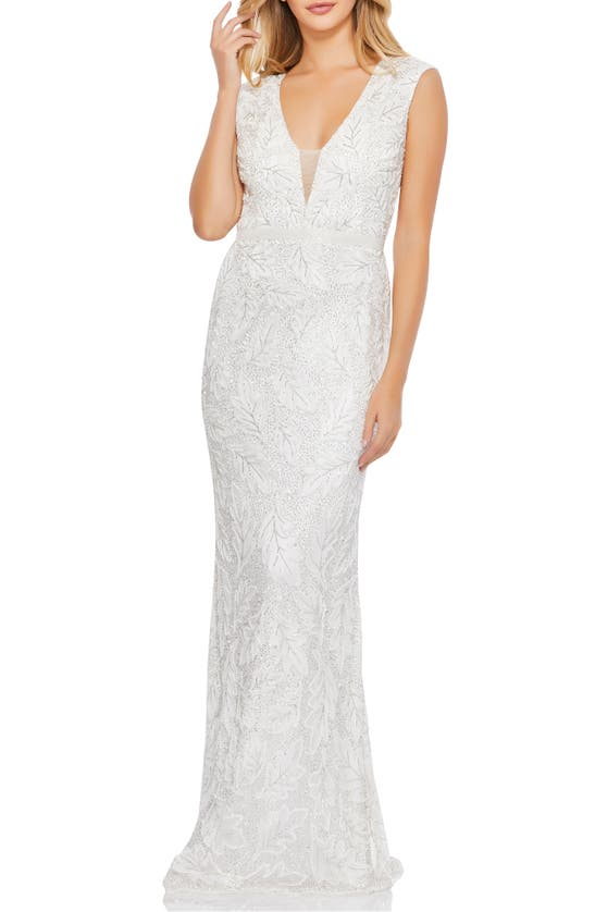 Mac Duggal Gowns LEAF BEADED ILLUSION PLUNGE NECK GOWN