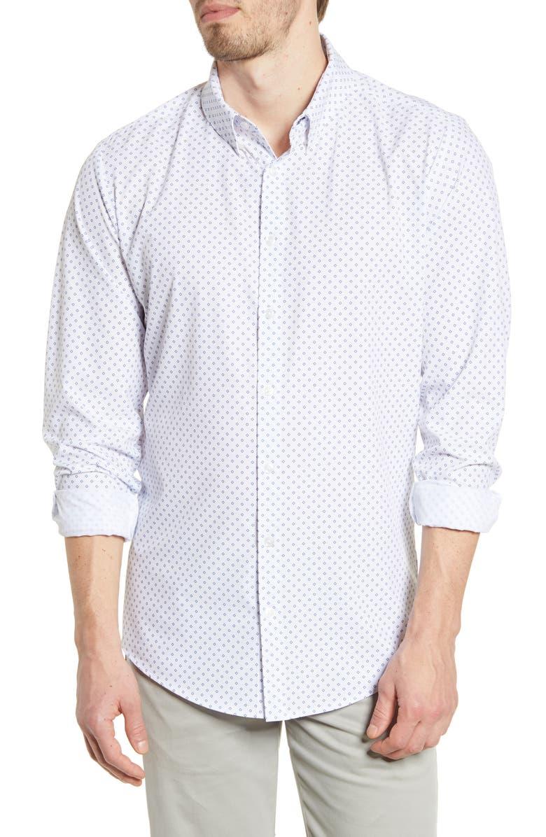 MIZZEN+MAIN Leeward Trim Fit Button-Up Performance Shirt, Main, color, NAVY DIAMOND PRINT