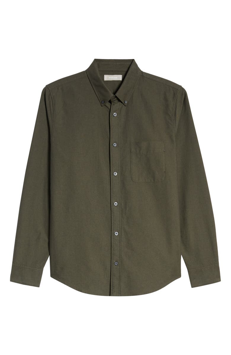 EVERLANE The Japanese Slim Fit Oxford Shirt, Main, color, FOREST NIGHT/ BRASS
