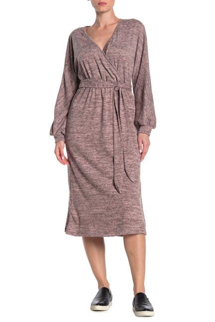 Image of Lush Belted Mock Wrap Midi Dress