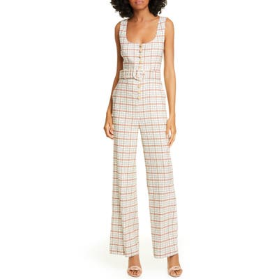 Nicholas Plaid Button Front Jumpsuit, Beige