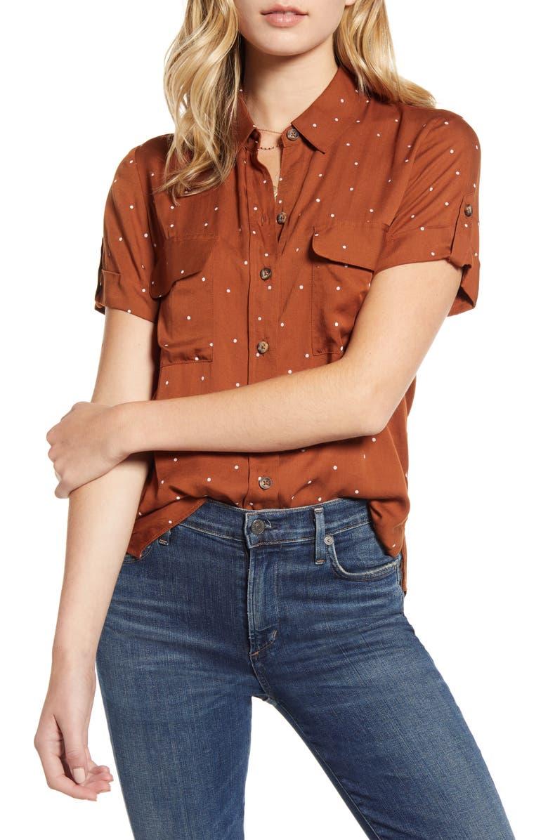 SOCIALITE Polka Dot Camp Shirt, Main, color, RUST