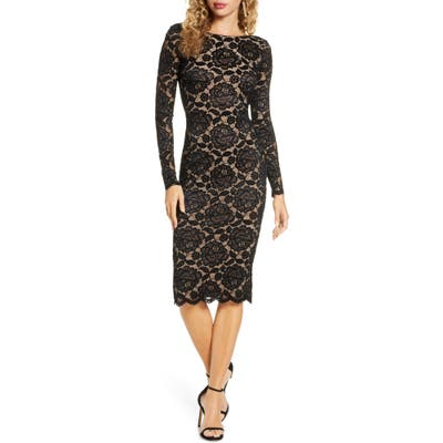 Dress The Population Emery Long Sleeve Lace Cocktail Dress, Black