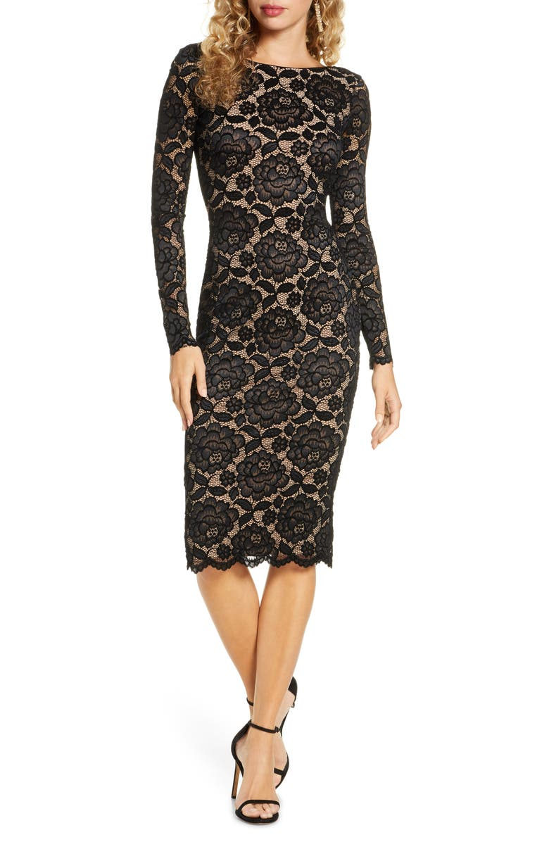 DRESS THE POPULATION Emery Long Sleeve Lace Cocktail Dress, Main, color, 001