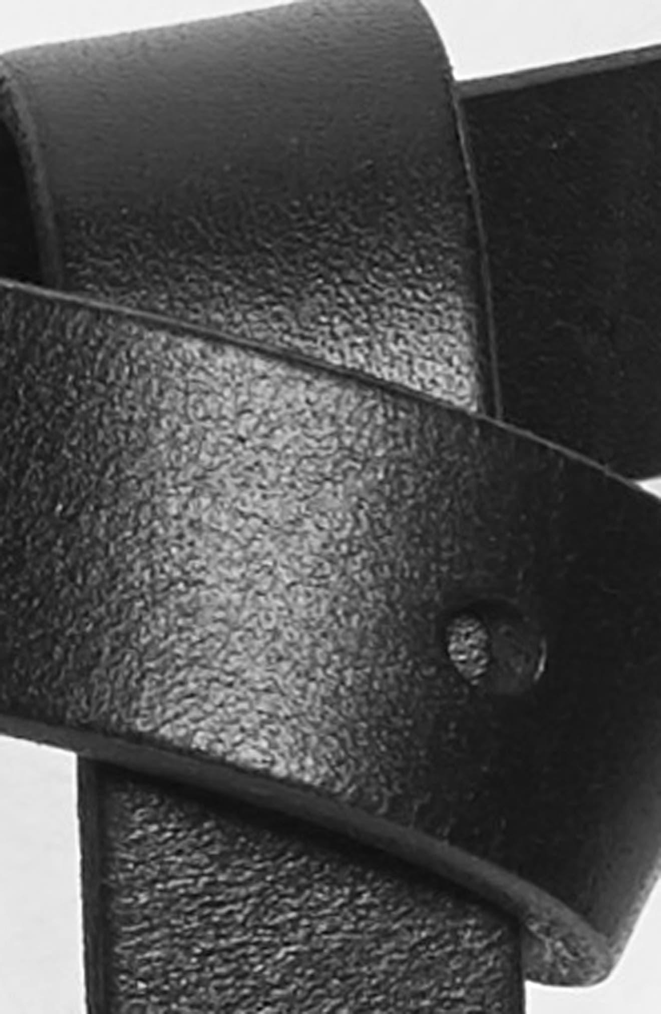 ,                             Flip Tip Skinny Leather Belt,                             Alternate thumbnail 3, color,                             BLACK