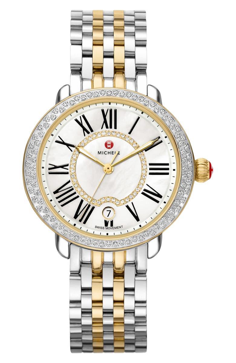 MICHELE Serein Diamond Bracelet Watch, 36mm, Main, color, 710