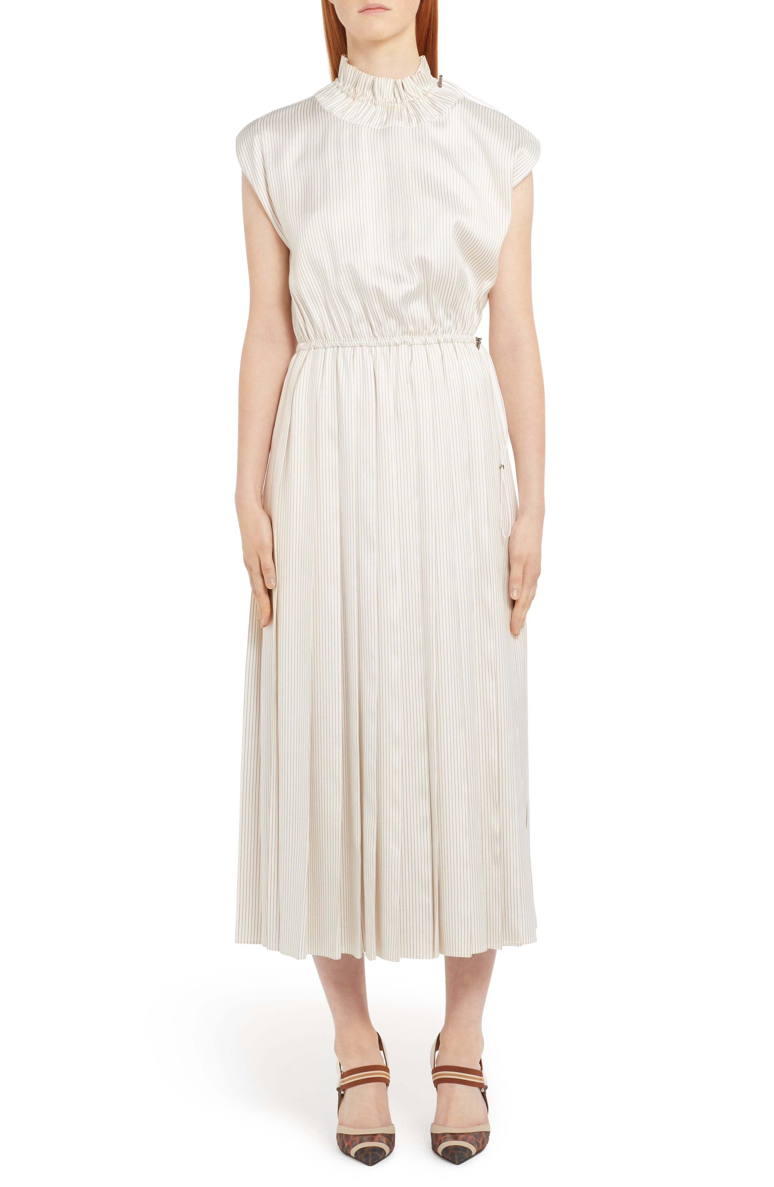 Fendi Pinstripe Drawcord Detail Silk Midi Dress, US / 46 IT - White